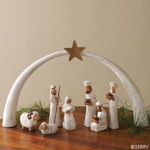 Whitewashed Albizia Nativity | SERRV I love this wooden nativity, especially the star arch to frame the scene. Good gift for families with kids. #FairTuesday