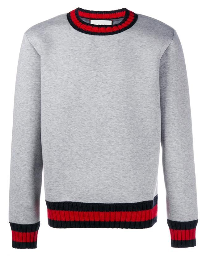a003033b01 GUCCI Stripe-Trimmed Cotton Sweatshirt in Gray | Shirts | Gucci ...