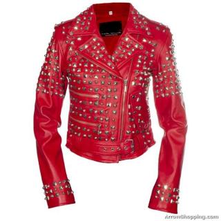 Arrow studded ladies Red Riders jacket sheep