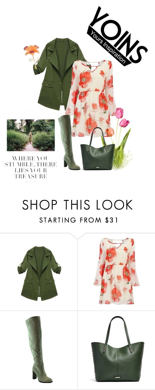 """""""Yoins: Army Green Jacket"""" by kim-mcculley ❤ liked on Polyvore featuring Rebecca Minkoff, NOVICA, women's clothing, women's fashion, women, female, woman, misses, juniors and GREEN"""