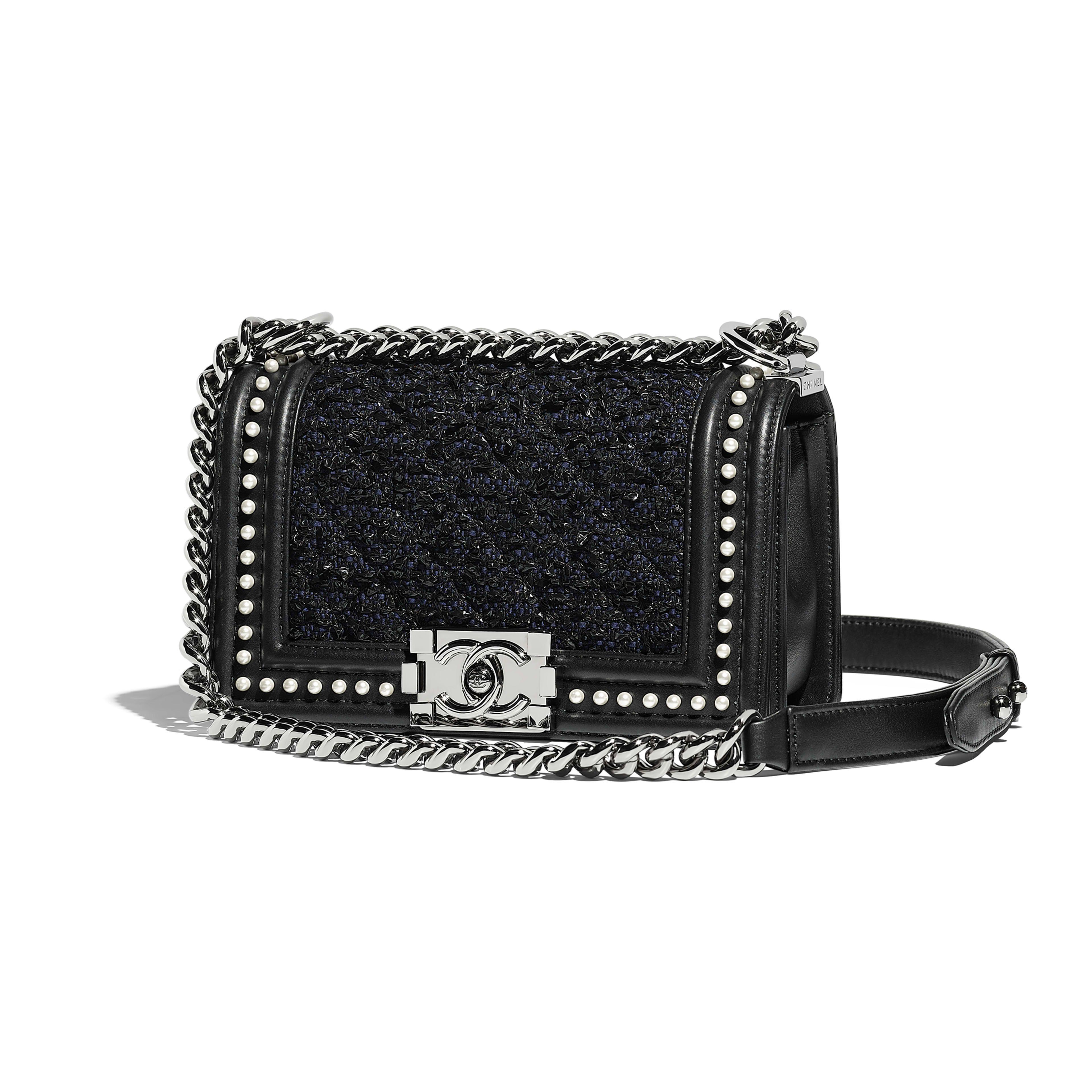 d8e1be80ceb75 Small BOY CHANEL Handbag Tweed, Calfskin, Imitation Pearls & Ruthenium-Finish  Metal Black & Navy Blue - view 1 - see full sized version