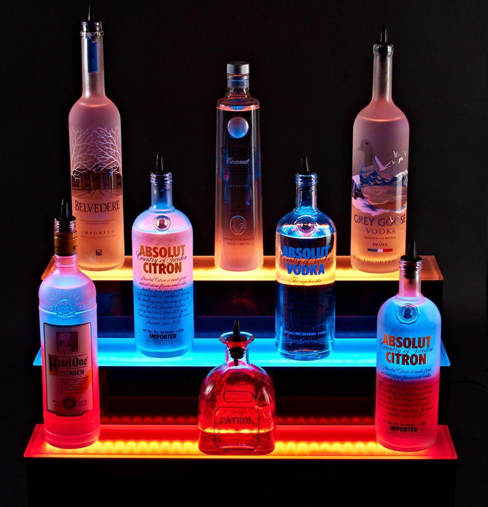 Led Lighted Liquor Bottle Shelf 3 Tier 72 Shelves Step Display In Home Furniture Diy Cookware Dining Bar Wine Accessories
