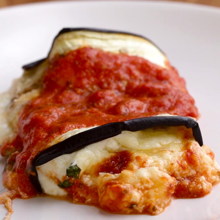 Cheesy Eggplant Roll-Ups Recipe by Tasty