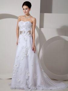 Elegant A Line Strapless Court Train Satin Lace Belt Wedding Dress Anniversary