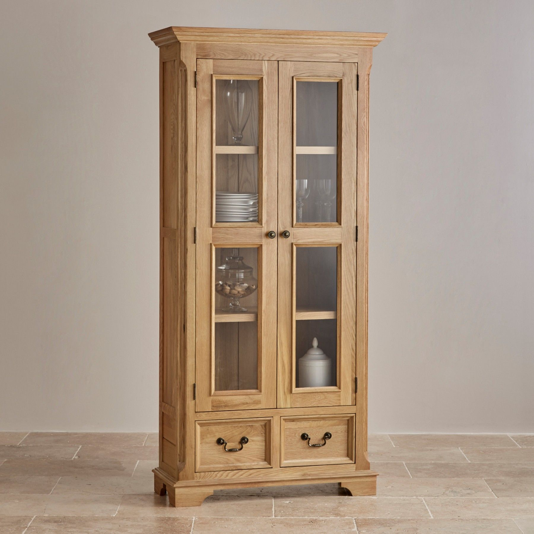 The Elegant Edinburgh Natural Solid Oak Display Cabinet Has Two