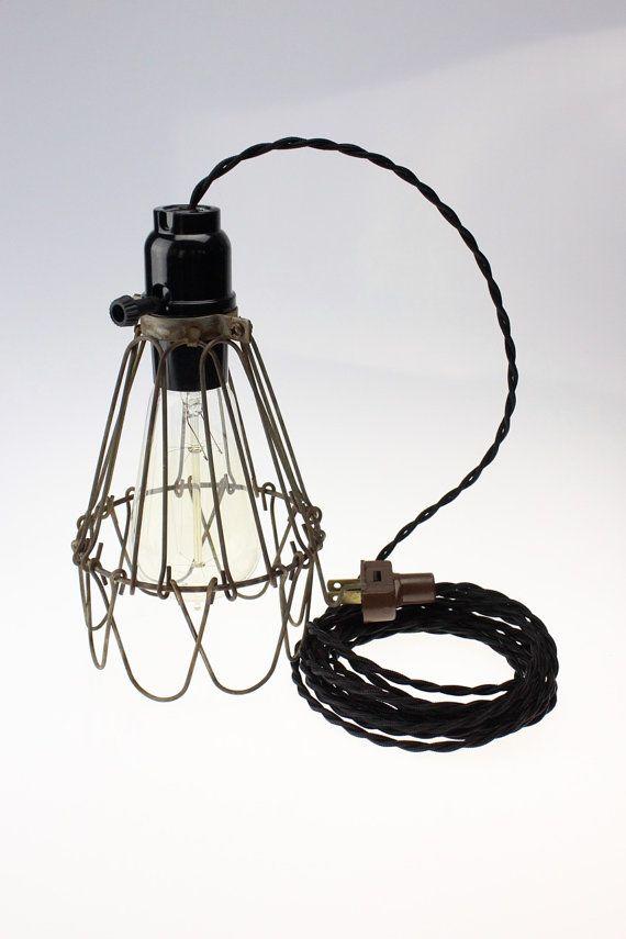 pendant light antique brass mid century modern industrial cage wire hanging light. Black Bedroom Furniture Sets. Home Design Ideas