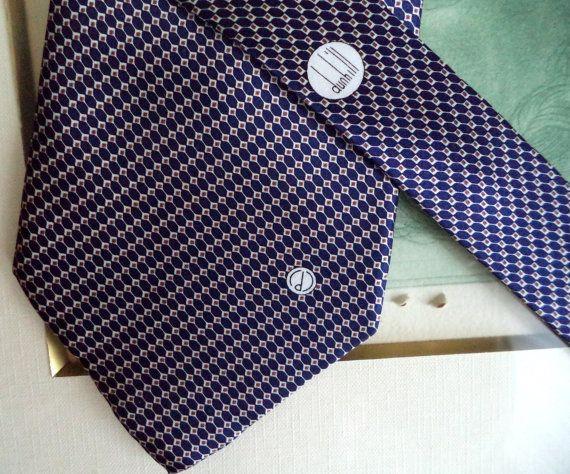 DUNHILL classic Necktie Tie Handmade Silk Blue by MushkaVintage3