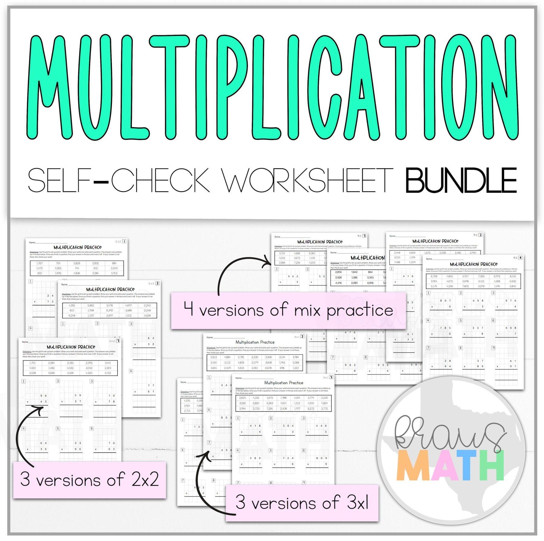 Multiplication 2x2 3x1 Self Check Worksheet Bundle Teks 4 4d Kraus Math Math Teks Teaching Multiplication Math Worksheets [ 1791 x 1799 Pixel ]