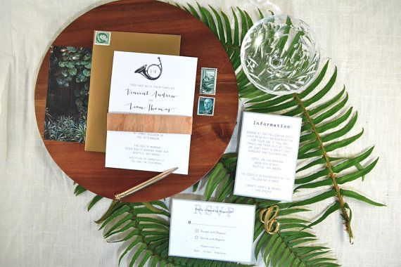 Vincent suite, printable palm wedding invitation. Includes invite, rsvp card, and info card.
