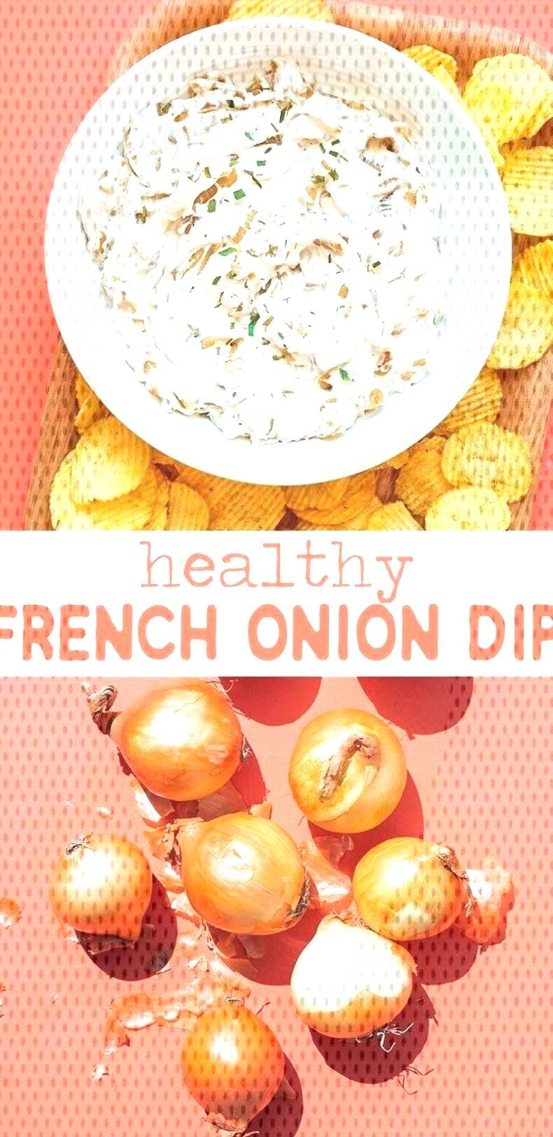 This healthy French Onion Dip recipe is made with protein-rich, creamy Greek yogurt and deeply cara