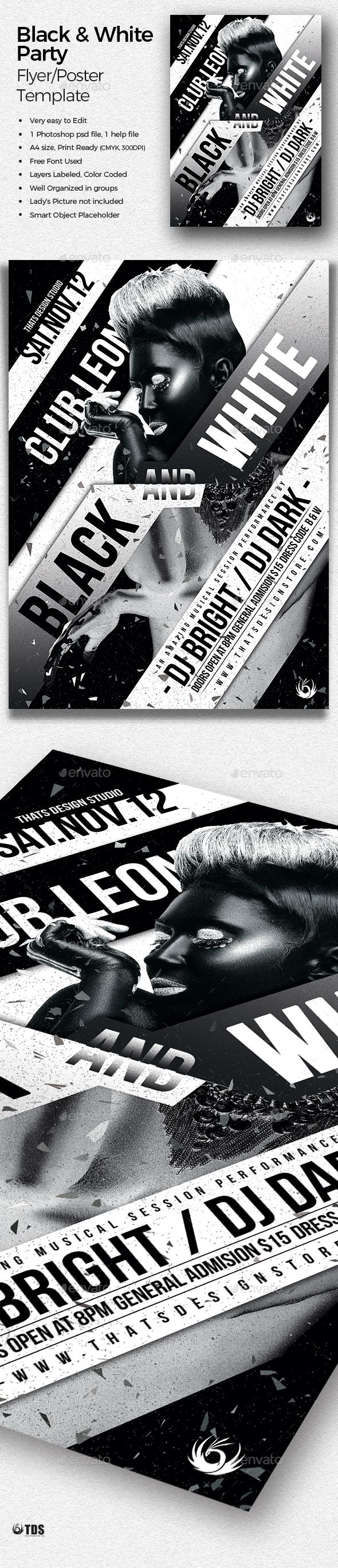 Black And White Party Flyer Template Color Thatsdesign Download