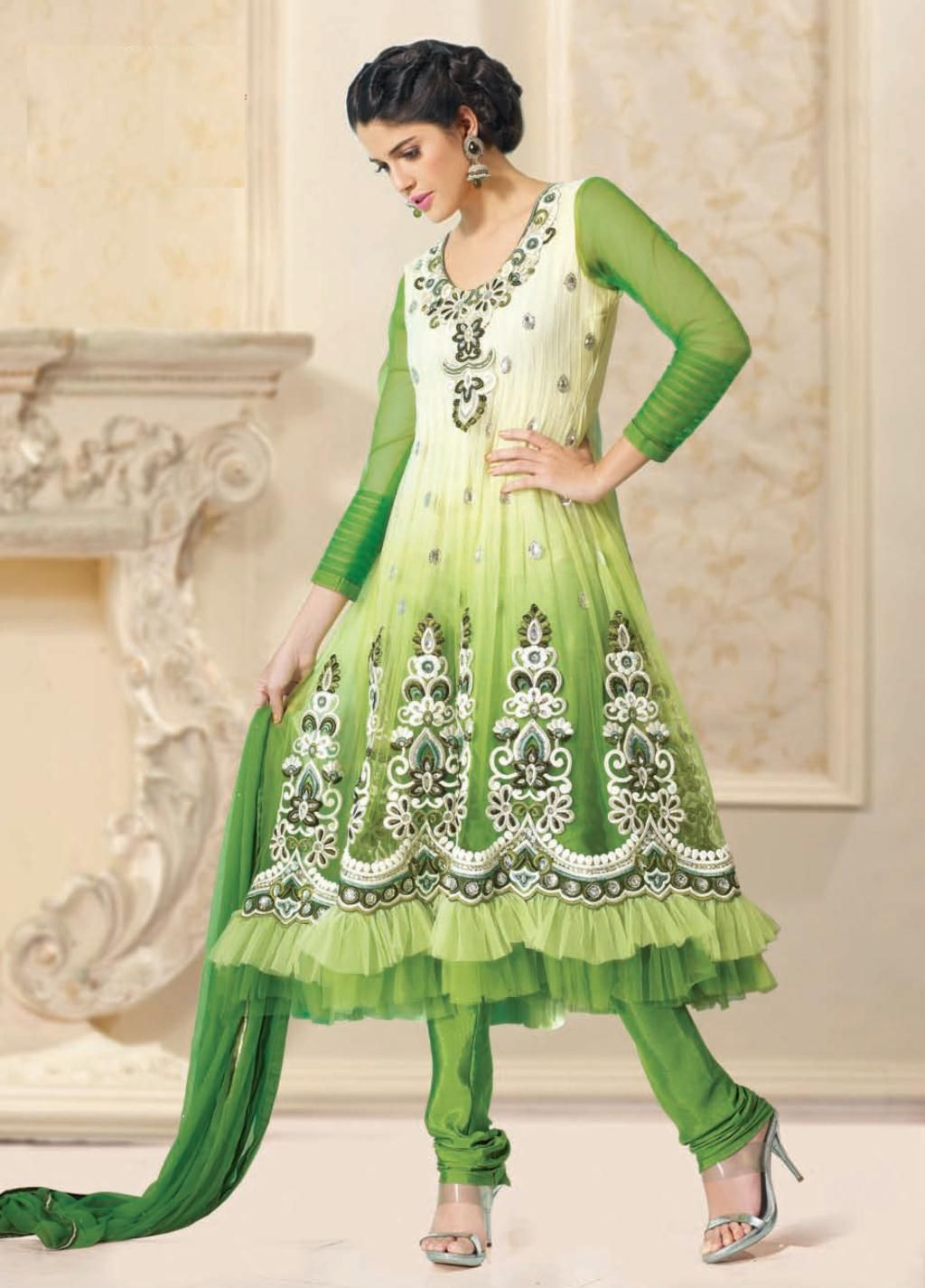 green full sleeve net long anarkali salwar kameez