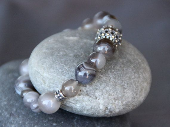 Agate and sterling silver bracelet by BirdieandBirdie on Etsy