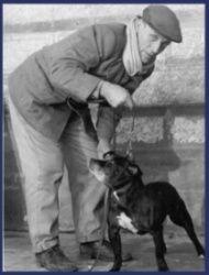 Bob Salisbury and Leapy Lou. Staffordshire Bull Terrier.