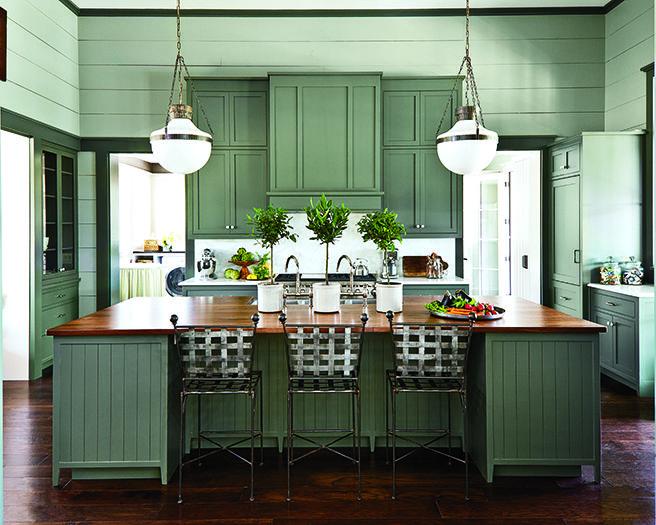 Dark green kitchen in Nashville Farmhouse   Southern ...