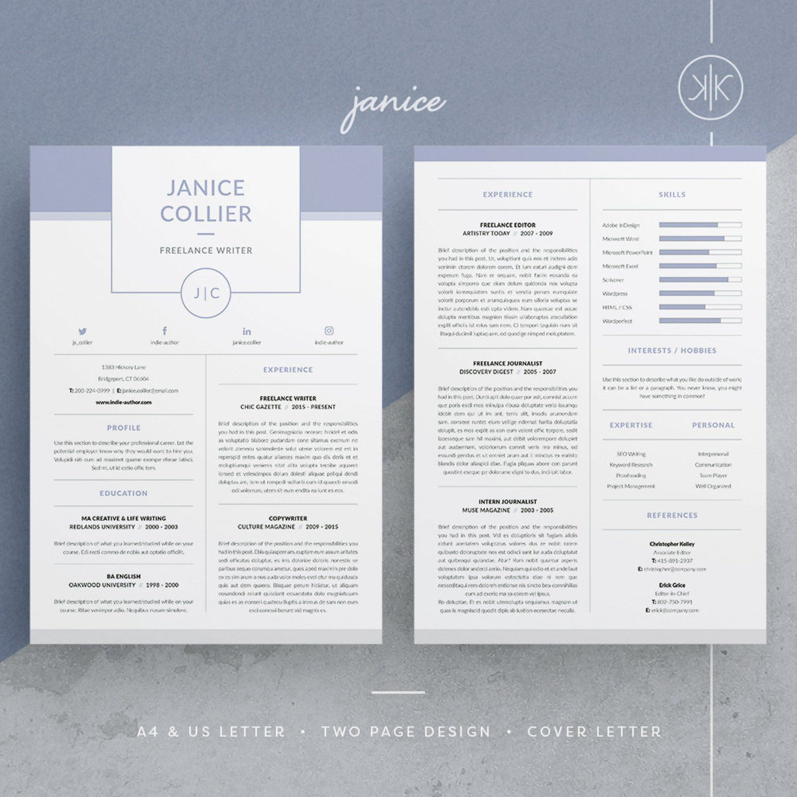 Janice Resume/CV Template Word InDesign