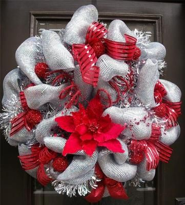 Christmas Wreath Door Red Silver Luxe Glitzy Deco Mesh Outdoor Decoration | eBay