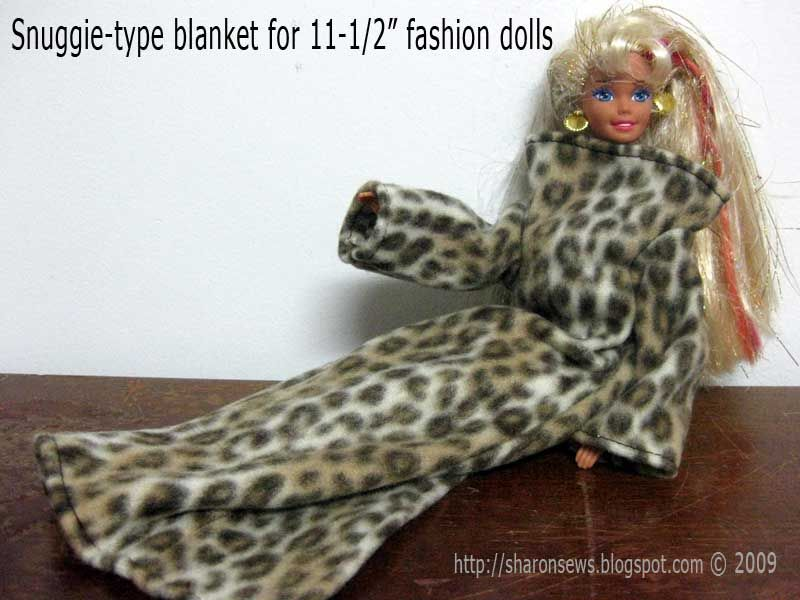 Sharon Sews: Sew a snuggie type blanket for Barbie and other fashion ...