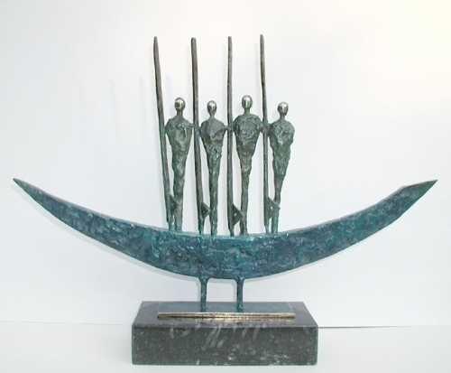 Four Boat Men By Padraic Reaney Metal Art Sculpture Shape Art Human Art