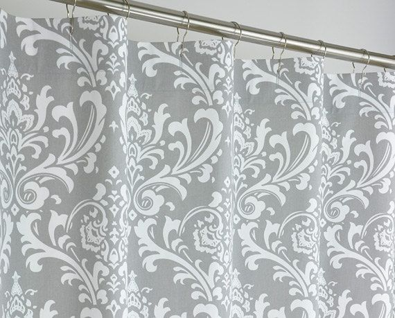 X Long Grey Damask Shower Curtain Extra Long By Pondlilly