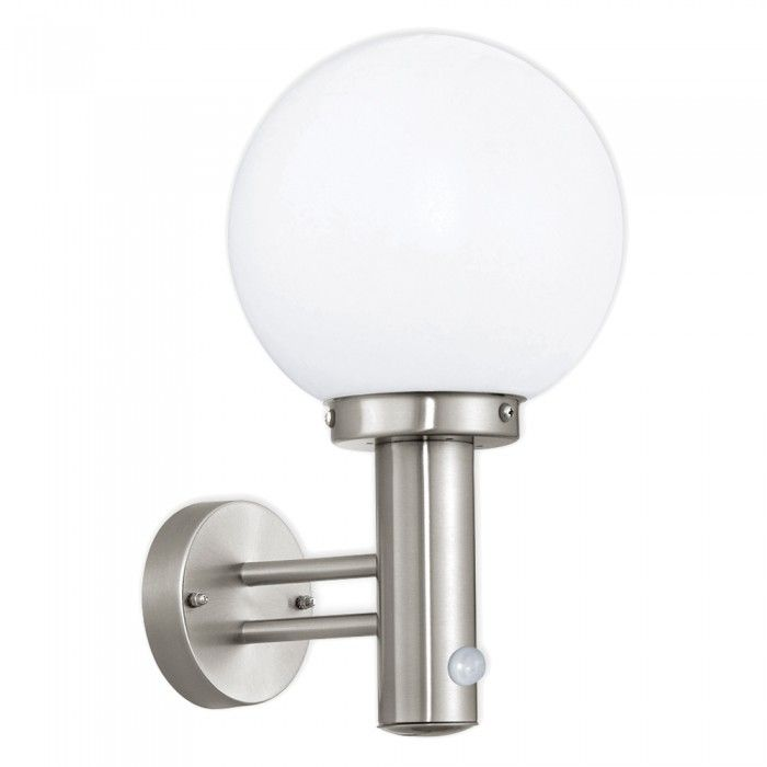 Nisia 60w stainless steel white globe garden outdoor wall light nisia 60w stainless steel white globe garden outdoor wall light pir workwithnaturefo