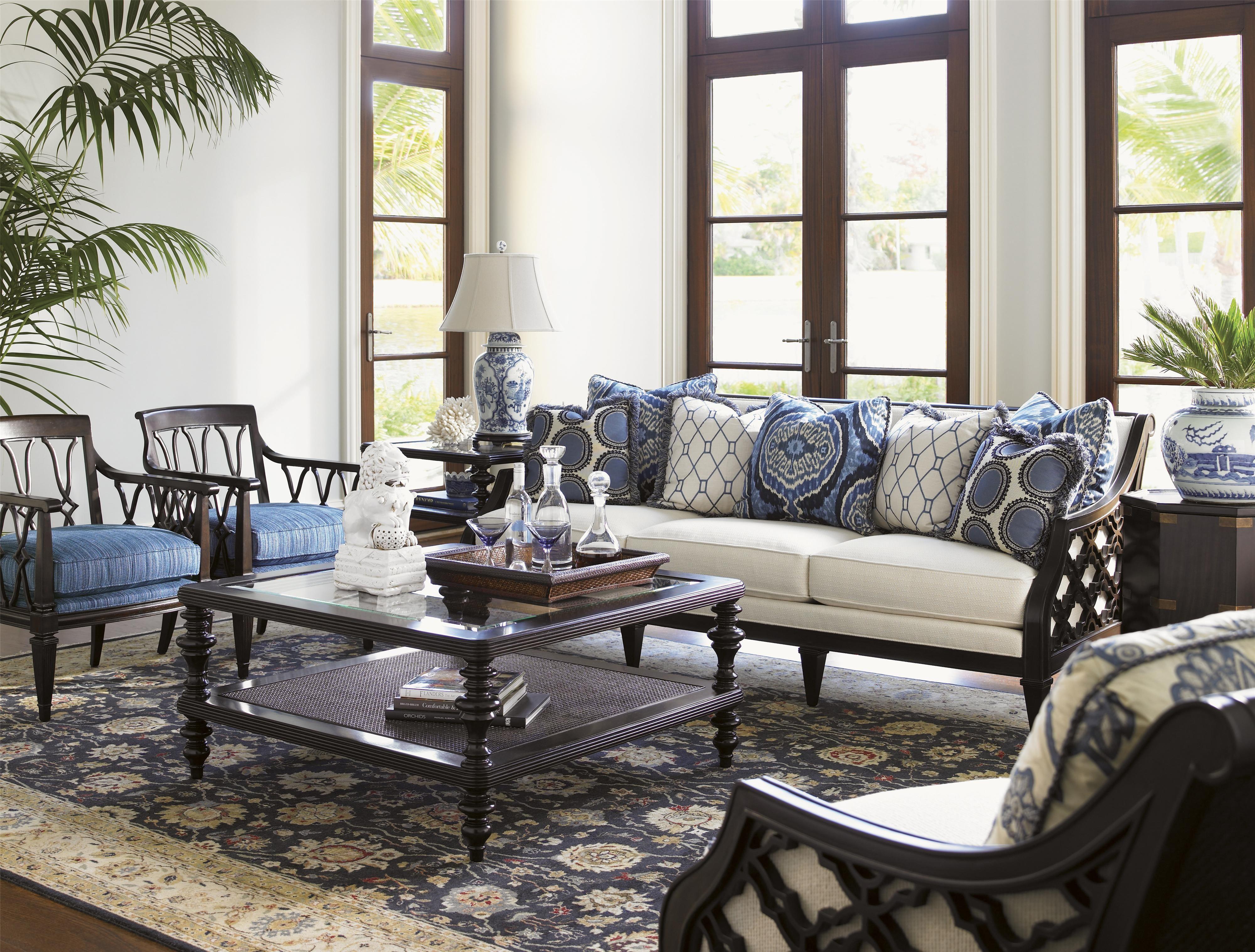 Home interior design royal royal kahala bay club exposed wood sofa with quatrefoil design by