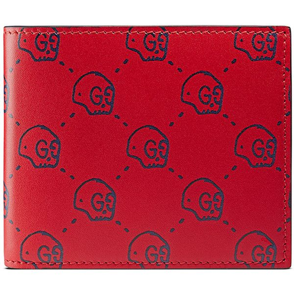 bd71d2b6b9b Gucci GucciGhost Skull Leather Wallet ( 420) ❤ liked on Polyvore featuring  men s fashion