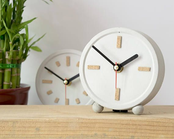 small table clock concrete cork round clock office interior gray