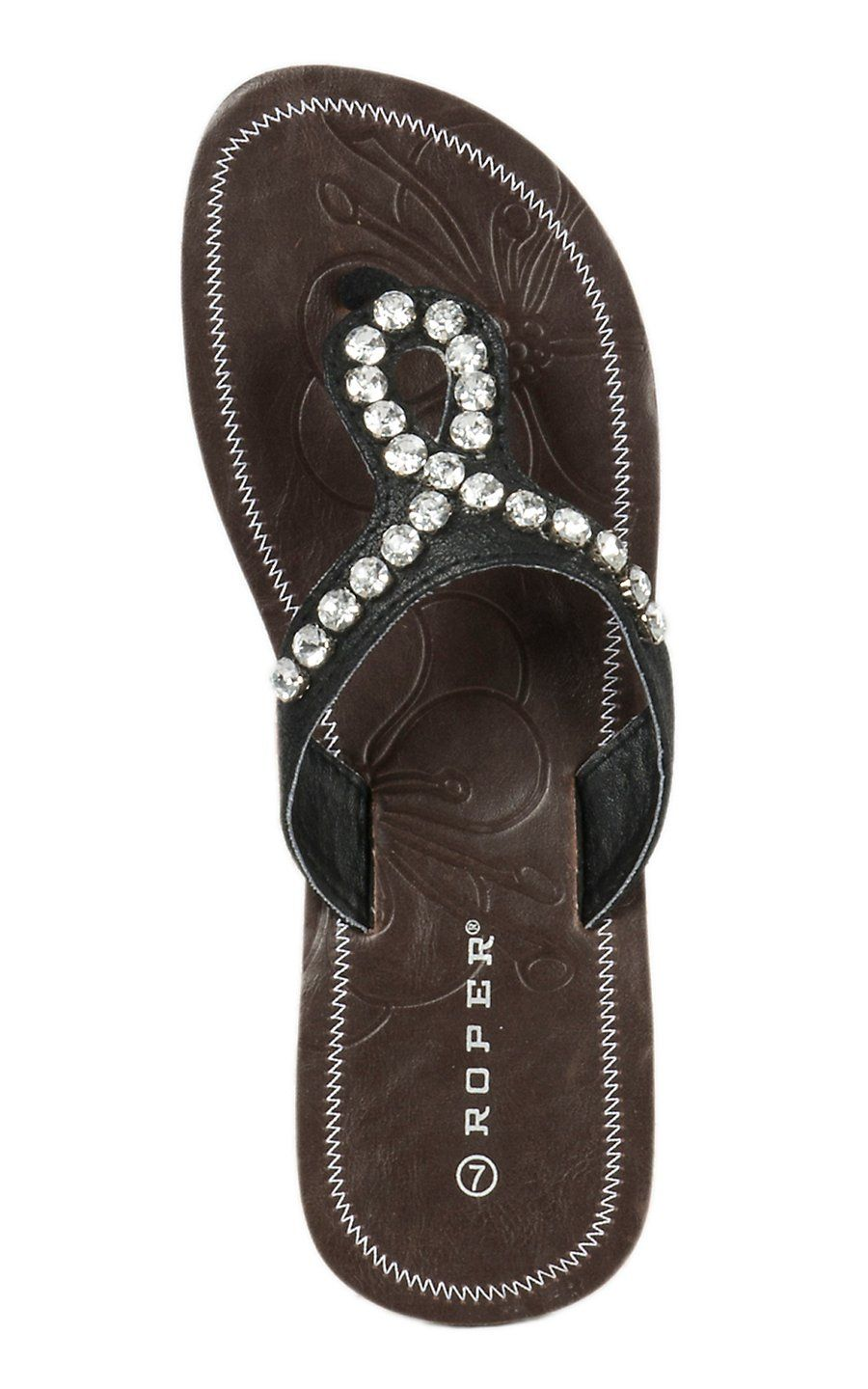0ebdc21bbc8 Roper Women s Black Loop with Crystals Flat Sandal