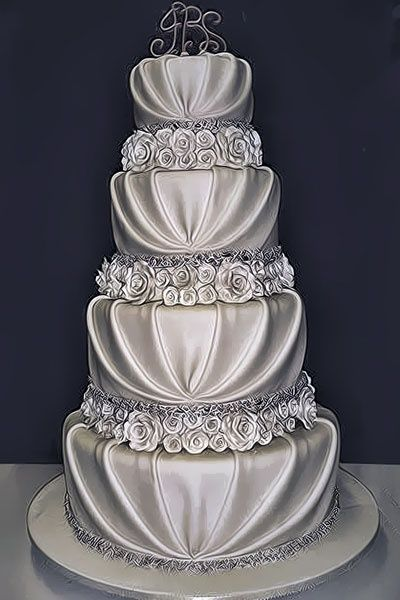 Silver Wedding Cake Ideas   Inspirations   Let them eat Cake     Gorgeous silver wedding cake  it looks like fabric  Stay  wellheeled on  your wedding