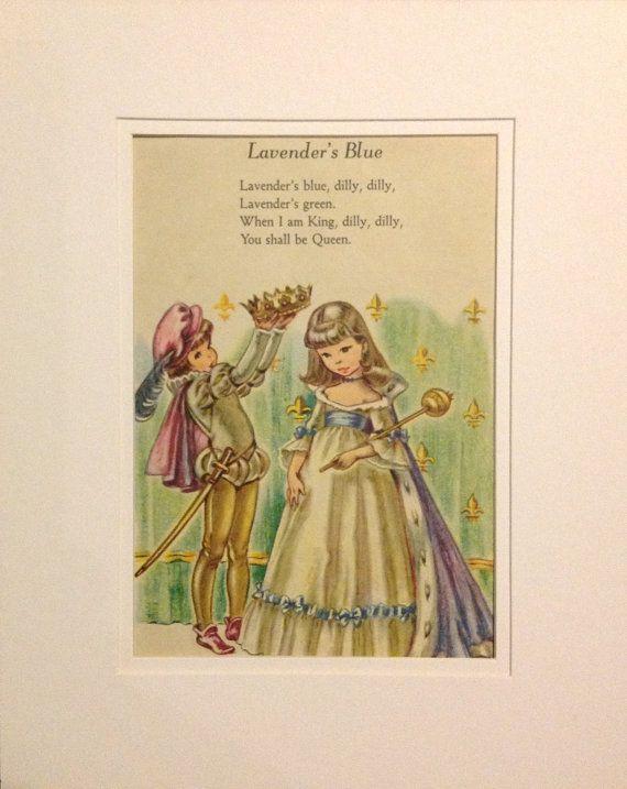 Childrens Wall Art - Vintage Nursery Rhyme Illustration - Lavender\'s ...