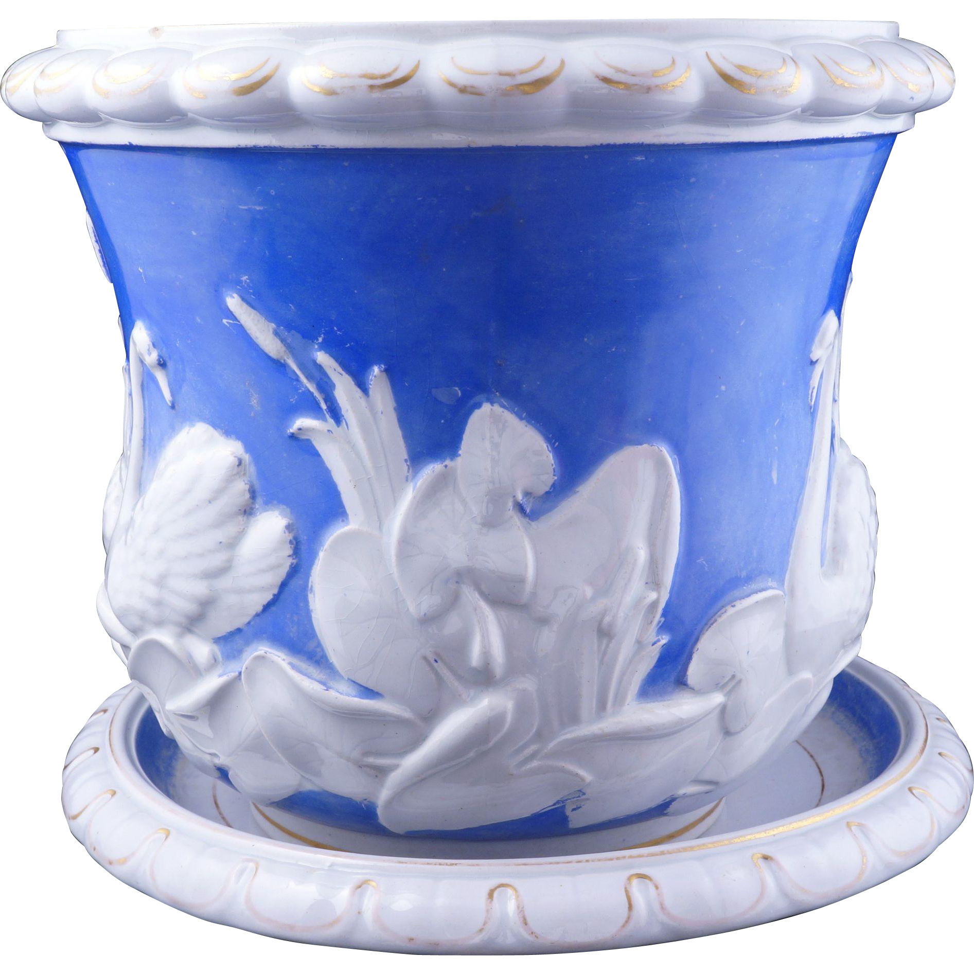 English Victorian porcelain flower pot and saucer late 19th century $115