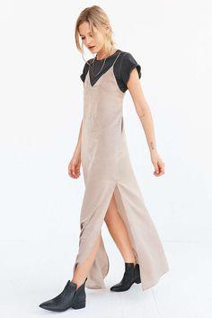 Silence + Noise Deep-V Satin Maxi Slip Dress - Urban Outfitters