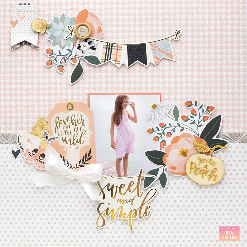 Bea Valint: Sweet and Simple | American Crafts #BeaValint #AmericanCrafts #scrapbooklayout #1Canoe2