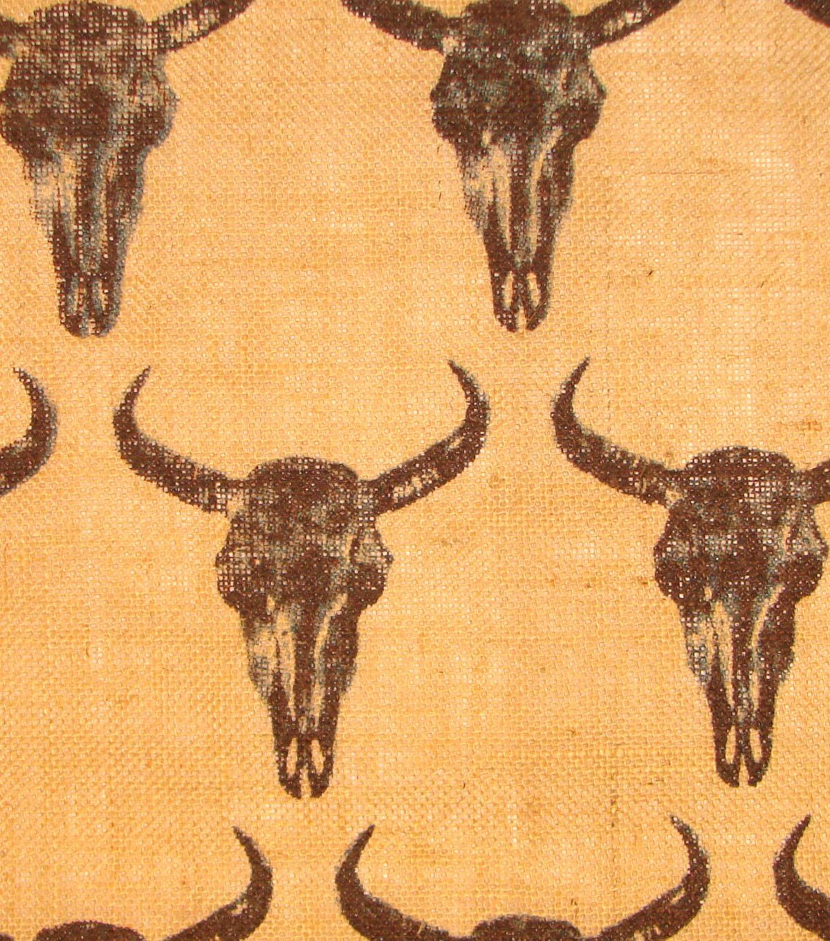 Steer Skull On Burlap