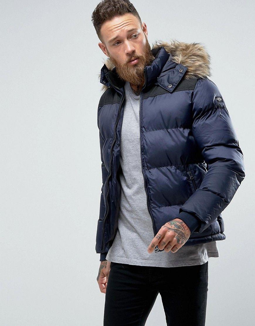 Schott Puffer Jacket Detachable Hood Faux Fur Trim Slim Fit In Navy Mens Outdoor Jackets Mens Winter Fashion Jackets [ 1110 x 870 Pixel ]