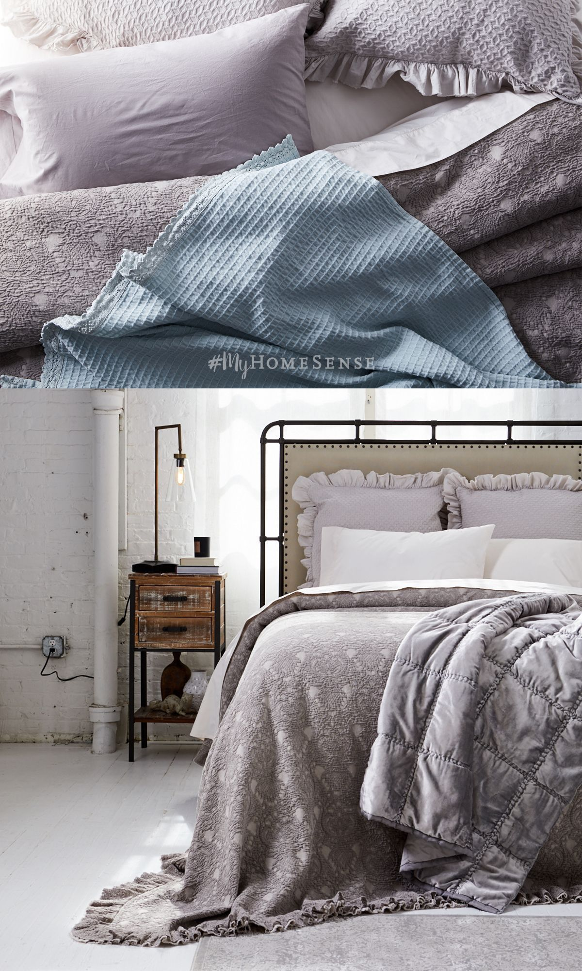 Soften up an industrial bedroom with cozy