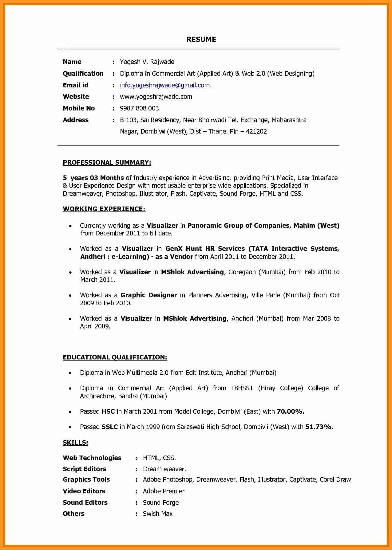 Should You Staple A Resume Lovely Email Resume Template Examples 24 Elegant Artist Resume