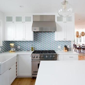 Blue And Gray Geometric Kitchen Backsplash Tiles Maison Decoration