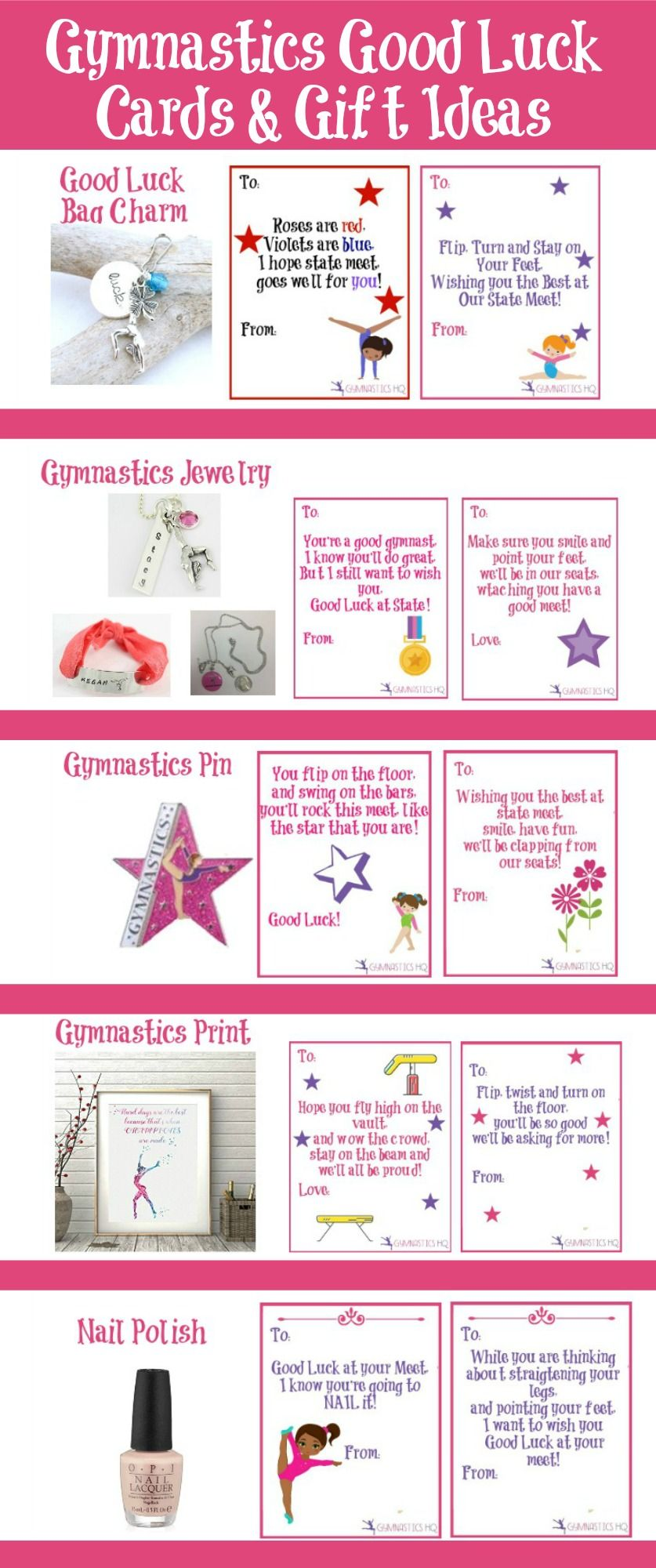 picture regarding Free Printable Good Luck Cards identified as Gymnastics Fantastic luck present recommendations alongside with cost-free printable