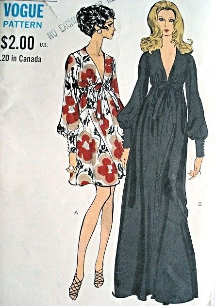 907d077596e 1960s FAB Evening Gown Cocktail Dress Pattern VOGUE 7630 PLUNGING V ...