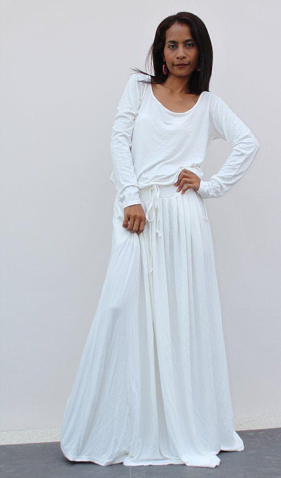 off-white maxi dress - long sleeve dress : autumn thrills