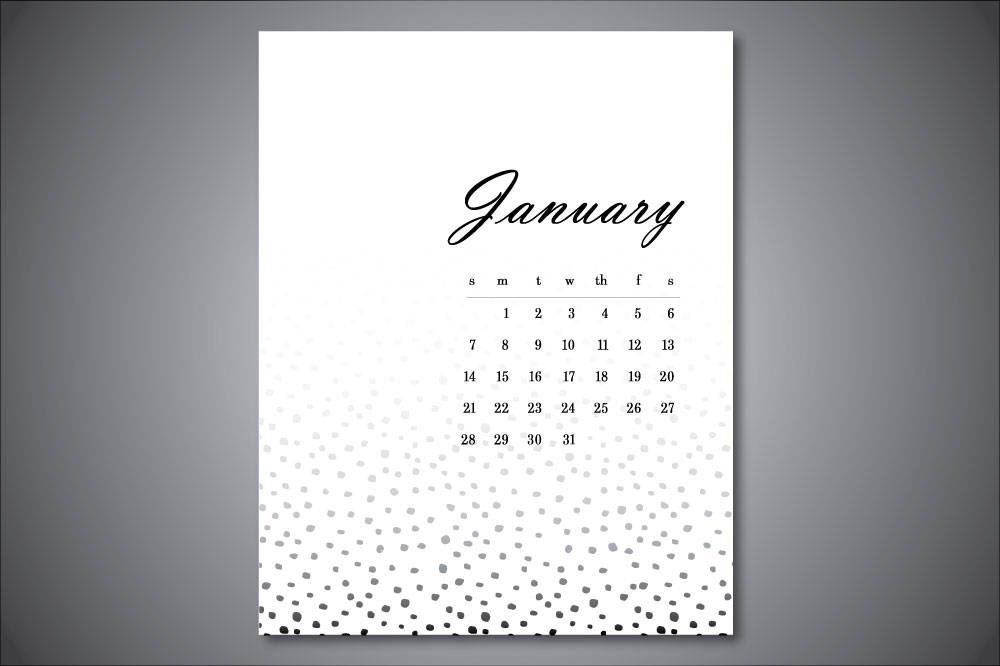 January 2018, Calendar Printable Wall Art Print, Instant Download