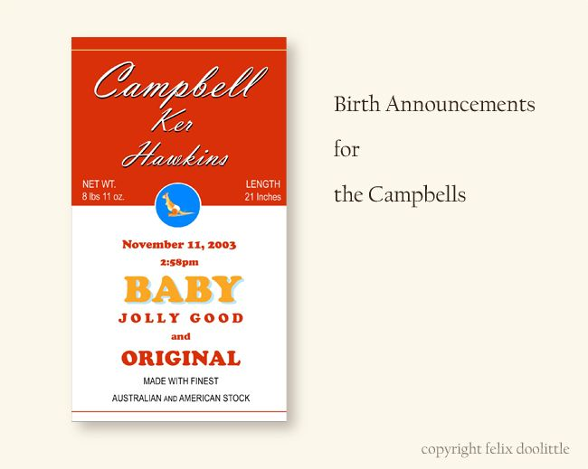 Birth Announcements for the Campbells by Felix Doolittle