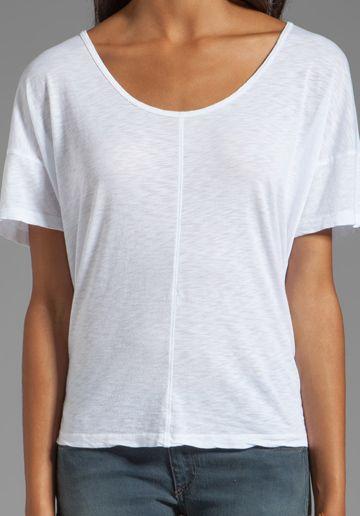 VELVET Honoria Lux Slub Short Sleeve Tee in White - Tops