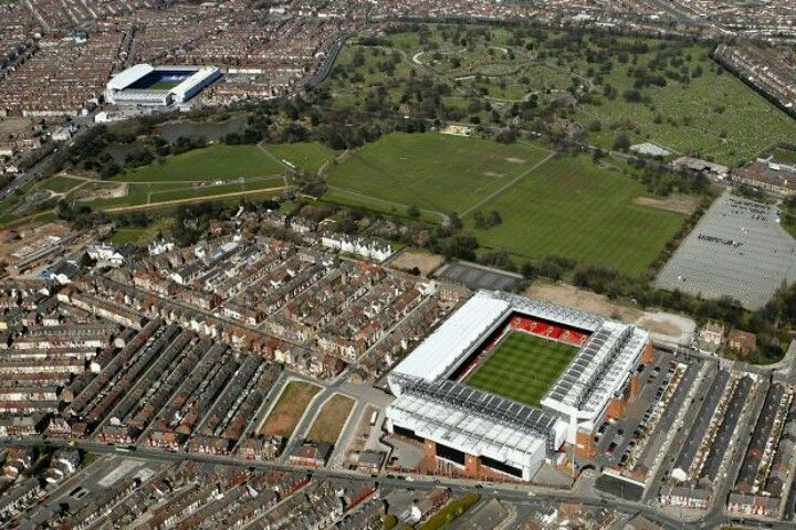 High Over Anfield Goodison Park Liverpool Everton