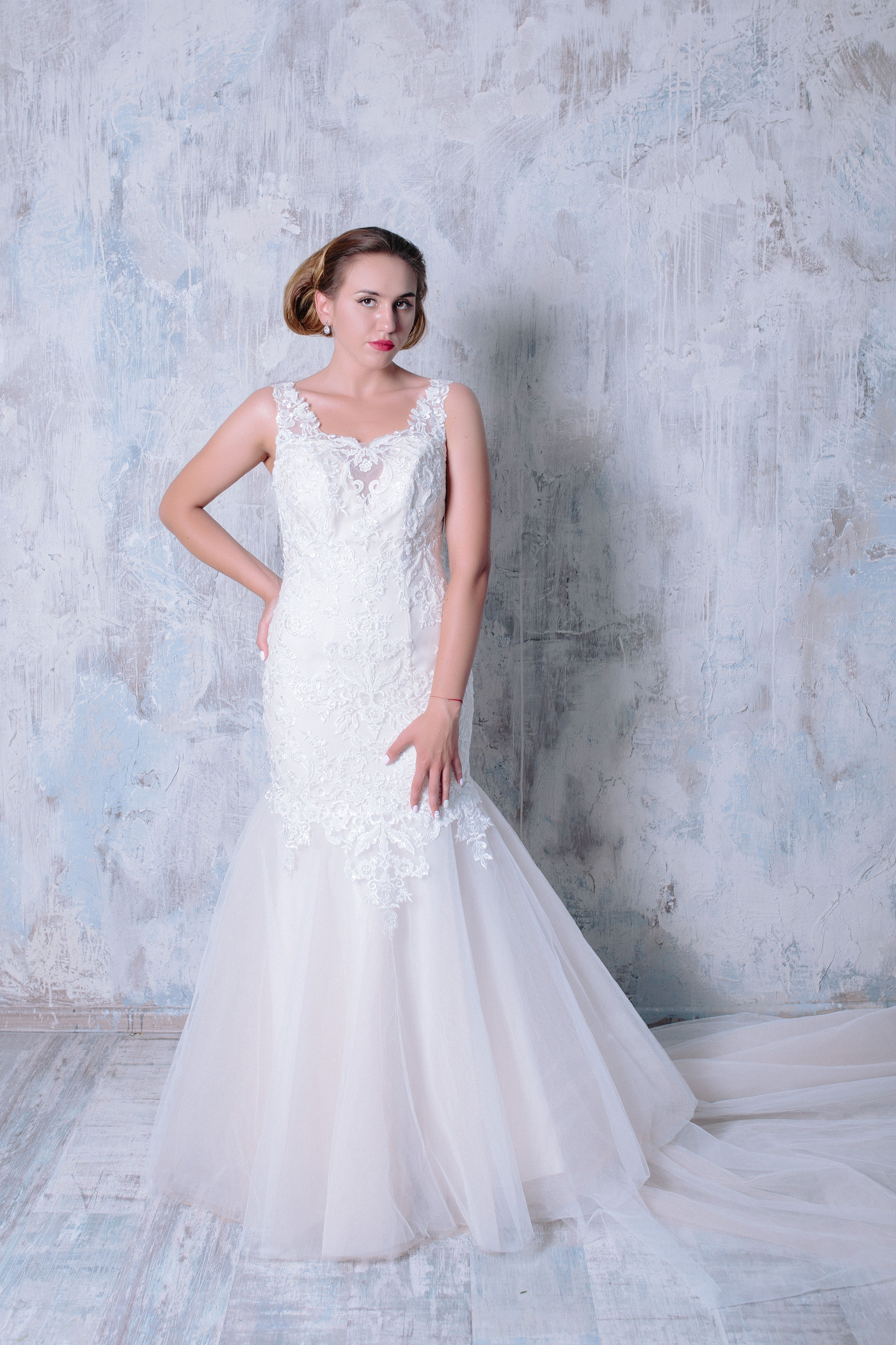 Beaded lace mermaid wedding dress by svetlana bridal couture spring