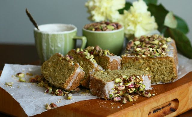 Lime and avocado cake topped with coconut-lime glaze and chopped pistachios. Zesty lime balances the richness of avocado and coconut milk. Gluten-free, vegan, no added oil or butter. - Maikin mokomin