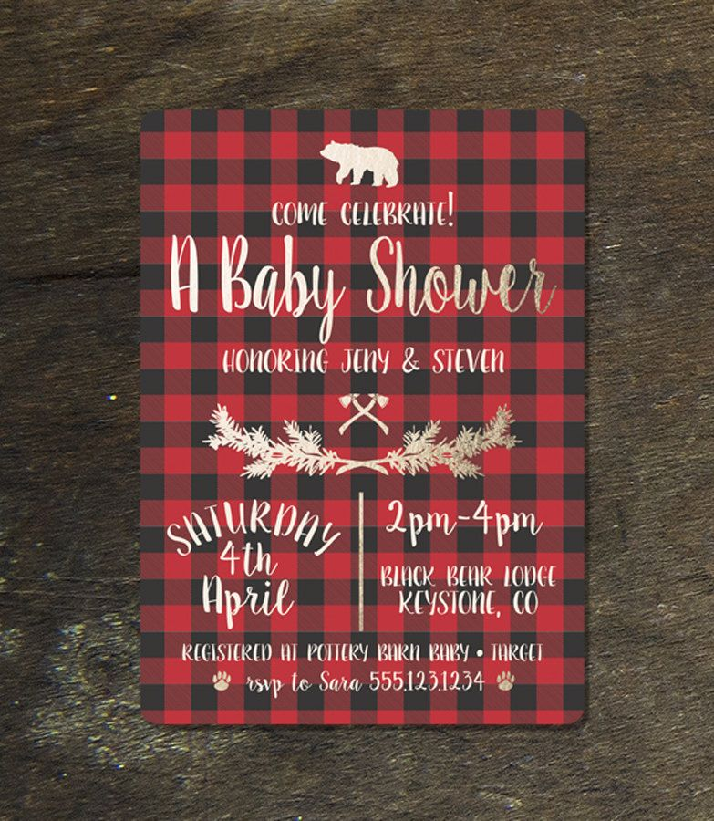 BabyShowerInvitation DIY Printable Jack & Jill Lumberjack Camp Baby ...