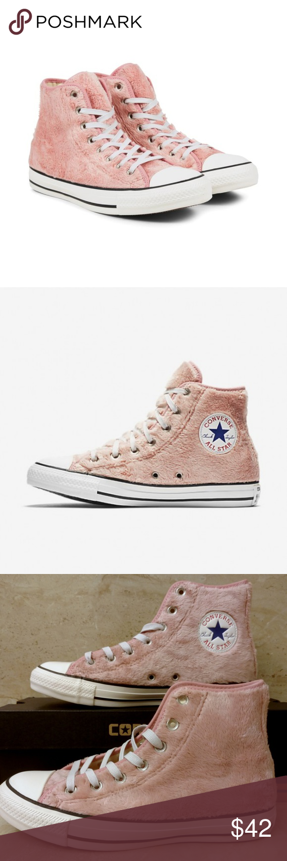 0cee7db82595 Size 7 Fuzzy Rose Converse Hi Top Shoes Pink CTAS Condition  Brand new with  lidless box NWB NIB Size  US Women s 7 Color  Rose Tan